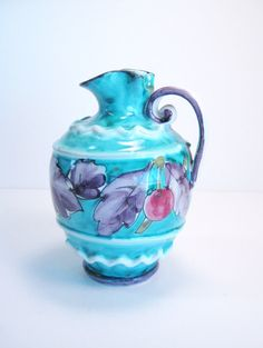 Italian Pitcher Hand Crafted Hand Painted Pottery Vase Bright Colorful Fruit and Leaf Pattern