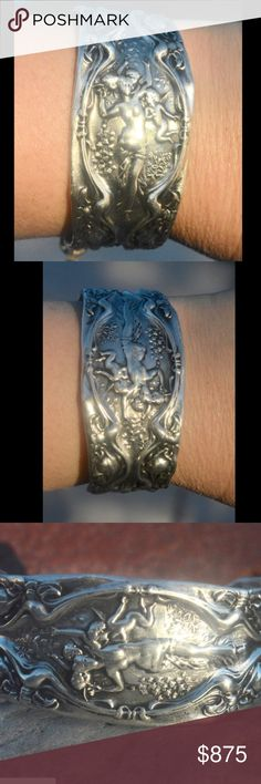 Goddess Cherubs Antique Sterling Silver Bracelet Thank you for looking at this one of a kind armlet which is repurposed with ultra rare  AntiqueWallace sterling silver repousse that is end of the 19th Century. This is one of the rarest and most beautiful Wallace motifs..There are cherubs surrounding a goddess. I do not copy from any one - no one will be wearing this but you This is solid sterling silver that was tested and still has the original Wallace stamp. 35.7 grams 2.25 width fits size…