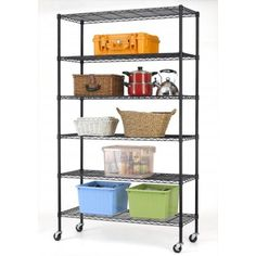 This is 6 tier wire shelf, you only need to spend to install it. This Heavy Duty Adjustable Metal Shelving Rack with Casters is made of steel wire shelving. Heavy Duty Shelving, Metal Shelving Units, Steel Shelving, Shelving Racks, Garage Shelving, Metal Storage Racks, Metal Rack, Shelf Holders, Rack Shelf