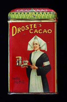 A Dutch chocolate Tin for producing a lovely warm cup of choclolate from Droste Haarlem, the sides are showing the repeating picture of a nurse with a platter with the Tin and a cup of damping excellent tasting chocolate, in my Collection