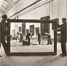 Workers at the Louvre Museum, Paris, by Pierre Jahan in 1947 via historypics
