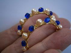 Ohrringe,Marine look,Creolen,blau,weiß von kunstpause auf DaWanda.com