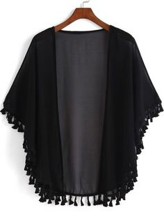 SheIn offers Black Casual Tassel Loose Kimono & more to fit your fashionable needs. Source by yollandet Kimono Fashion, Hijab Fashion, Fashion Clothes, Fashion Outfits, Mode Kimono, Kimono Jacket, Kimono Cardigan, Mode Abaya, Mode Hijab