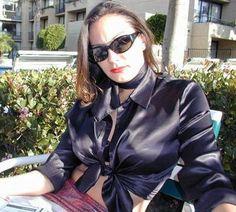 Sexy Blouse, Blouse And Skirt, Ruffle Blouse, Satin Shirt, Satin Blouses, Scarf Styles, Black Satin, Silk Satin, Leather Jacket