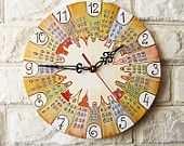 The Fairy-tale City Wall Clock Home Decor for Children Baby Kid Boy Girl Nursery Playroom Crayon Pastel Rustic