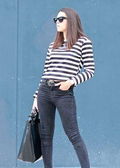 Natalia M - Zara Stripe Shirt, Asos Cat Eye Sunnies, Vila Jeans, Pull & Bear Cowboy Belt, Zara Xxl Bag - STRIPE SHIRT