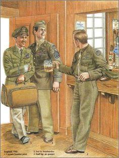 U.S. Army Air Corps, England, 1943. Ww2 Uniforms, Military Uniforms, Hogans Heroes, Army Sergeant, Navy Sailor, Nuclear War, Army Uniform, United States Army, D Day