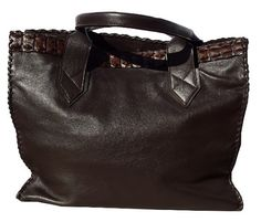 Genuine Leather Hand Stitched Shopper with Croc trim by Created in Eden Hand Bags, Hand Stitching, Crocodile, Crocs, Hands, Brand New, Elegant, Leather, Fashion