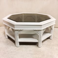 Just arrived! White Octagonal T...  #greystonetreasures #buyanoriginal  http://greystonefinefurniture.com/products/white-octagonal-two-tier-coffee-table-with-lattice-and-smoked-glass-top-225?utm_campaign=social_autopilot&utm_source=pin&utm_medium=pin