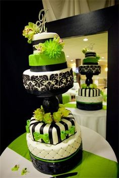 5 Tier Tall Wedding Cake Damask And Lime Green By Rose Marcellino