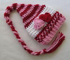Crochet Valentine's Day Hat, Photo Props, Baby Shower Gift, Preemie to Toddler Crochet Unicorn Hat, Crochet Baby Boots, Crochet Slippers, Crochet Hats, Crochet Cat Pattern, Crochet Patterns, Baby Patterns, Crochet Ideas, Newborn Hats