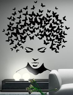 Butterflies in the head wall sticker, wall decal, butterflies wall decor, butterflies wall sticker removable vinyl wall art These stickers are made from high-quality german matt vinyl. Service life up to 7 years. Available in a choice of 35 colors. Wall Art Designs, Paint Designs, Wall Design, Design Design, Wall Painting Decor, Diy Wall Decor, Wall Paintings, Art Decor, Creative Wall Painting
