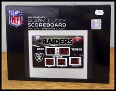 Official NFL New in Box Date Temperature Scoreboard Alarm Clock Oakland Raiders #OaklandRaiders