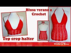 Top crop halter – blusa verano tejida a crochet (ganchillo) – Parte 1 - YouTube