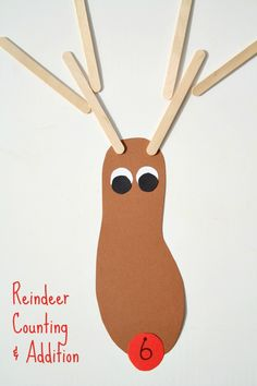 Such a fun counting game for kids!! Reindeer Counting and Addition Activity for Preschool and Kindergarten.