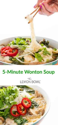 This is a fool-proof, light brothy soup packed with classic Asian flavors and ready in as little as 5 minutes. Perfect for those cold months! Brothy Soup Recipes, Chicken Soup Recipes, Healthy Soup, Healthy Recipes, Healthy Eating, Weight Watchers Soup, Appetizer Sandwiches, Lemon Bowl, Asian Soup