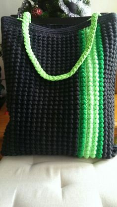 Crochet tote.- would be cute with yellow and grey and black :D
