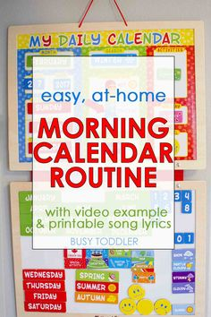 Easy Morning Calendar Routine: Check out this super simple at home calendar routine! It's perfect for toddlers and preschoolers. What a great way to start each day!