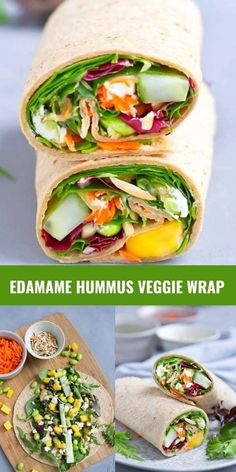 Up your lunch game with an Edamame Hummus Veggie Wrap. Packed with vegetables, goat cheese and mango, and drizzled with a simple hummus lemon dressing. 249 calories and 6 Weight Watchers SP | Lunches | Healthy | Easy | Tortilla | Cold | Meal Prep | Raw | Mediterranean | Vegetarian #lunchideas #healthylunches #veggiewrap #tortillawrap #wrapsandwich #smartpoints #weightwatchers