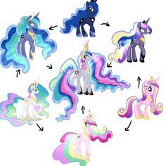 #974431 - artist:cristle1235, fusion, fusion diagram, hexafusion, princess cadance, princess celestia, princess luna, safe - Derpibooru - My Little Pony: Friendship is Magic Imageboard