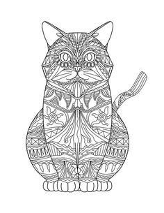 Adult Coloring Pages: Cats 3-2