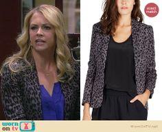 Melissa's grey leopard print blazer on Melissa and Joey. Outfit Details: http://wornontv.net/26061 #MelissaandJoey #fashion