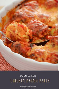 These Oven Baked Chicken Parma Balls with an Italian tomato sauce and melted cheese are a family favourite! Kid-friendly, easy and delicious! Oven Chicken Recipes, Oven Baked Chicken, Crockpot Recipes, Cooking Recipes, Weeknight Recipes, Parma, Lunch Box Recipes, Dog Treat Recipes, Pasta Sin Gluten