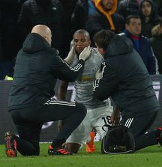 4afc295be Ashley Young of Manchester United receives treatment for a head injury  during the Premier League match