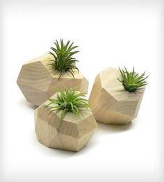 Faceted Trio | These organic planters' unique geometric design has smooth fac... | Pots & Planters