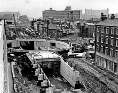 Eyre Street looking towards Arundel Gate and Furnival Square during construction of underpass, Furnival street on right Old Pictures, Old Photos, Nice Photos, Council Estate, Sources Of Iron, Sheffield City, South Yorkshire, Sense Of Place, Places Of Interest