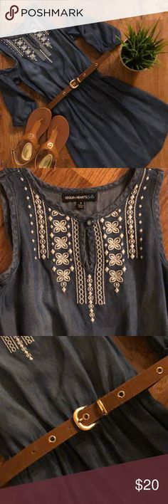 Girls denim cold shoulder dress Girls denim cold shoulder dress, worn once! Size 8, perfect condition, blue denim with white embroidery & brown belt Sequin Hearts Dresses Casual
