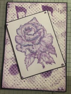Sheena Douglass Every Rose stamp set, John Bloodworth texture stamp, sizzix musical note embossing folder, Distress inks, Phill Martin's Frosty Heather Comic Shimmer range