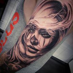 Chicano clown girl tattoo by @vesnavtattoos