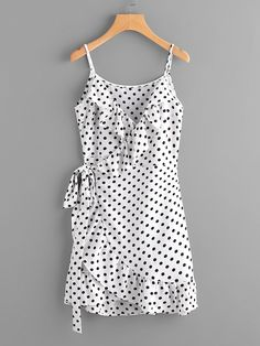 Shop Polka Dot Wrap Self Tie Waist Frill Cami Dress online. SheIn offers Polka Dot Wrap Self Tie Waist Frill Cami Dress & more to fit your fashionable needs. Shift Clothing, Summer Outfits, Summer Dresses, Creation Couture, Look Chic, Fashion Outfits, Womens Fashion, Style Fashion, Fashion Black