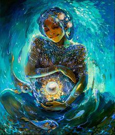 Fantasy Art by kush. Under the Sea Arte Latina, Birth Art, Pregnancy Art, Mother Art, Spirited Art, Goddess Art, Visionary Art, Psychedelic Art, Sacred Art