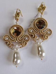 Soutache Earrings, Pearl Earrings, Drop Earrings, Embroidery Jewelry, Silk Ribbon, Shibori, Jewelry Crafts, Jewerly, Womens Fashion