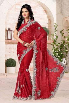Red Chiffon Saree with Diamond Hand Work Stone