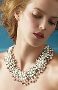 Badgley Mischka Glass Pearl & Crystal Statement Necklace | Nordstrom - I want to wear this instead of a veil
