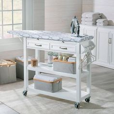 Portable Ironing Board Center Station Storage Cart With Baskets Laundry Room - Storage Cart - Ideas of Storage Cart - Mobile Ironing Board Station Cart Storage Drawers Shelves Laundry Room White Sewing Room Storage, Laundry Room Organization, Laundry Room Design, Closet Storage, Diy Storage, Storage Cart, Storage Ideas, Sewing Rooms, Drawer Shelves
