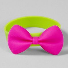 Neon Rubber Bracelet with Hot Pink Bow -- this looks like something Mallory would love