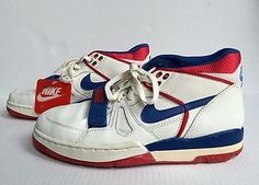 RARE Vintage 1988 Nike Air Alpha Force Low OG shoes size 9.5 white/blue/red NEW