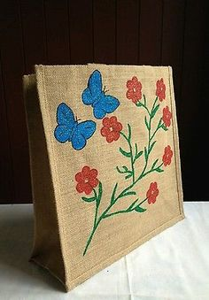 Hand-painted-jute-shoping-gift-bag