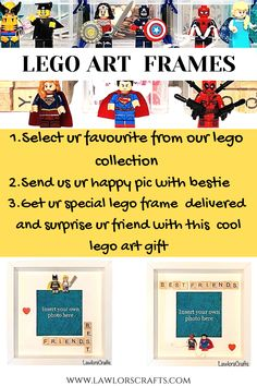 Lego Art Frames are fantastic gifts for Lego Friends,Lego Birthday Party and we have a huge collection from which you can select your mini figures for the frame..Please visit our etsy shop for more designs of our personalised lego frames #legoframes,#legogifts Scrabble Frame, Wooden Scrabble Tiles, Scrabble Art, Personalized Photo Frames, Personalised Family Tree, Christmas Craft Fair, Handmade Christmas Gifts, Lego Gifts, Craft Gifts