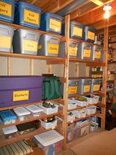 practical storage for an unfinished basement - large readable signs/labels