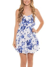 Another great find on #zulily! White & Blue Floral Surplice Dress by Coveted Clothing #zulilyfinds