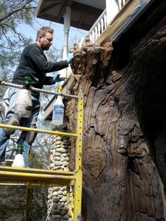 SG Studios creating tree sculptures for residential homes. Large scare tree sculptures. Final painting details