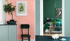 Pastel pop art paint with pink walls in Markis. Or simply choose different shades of green: Fjärilslarv, Sommarlöv and Klorofyll, all paints by Alcro. Blush Walls, Pink Walls, Green Furniture, Different Shades Of Green, Interior Inspiration, Interior Decorating, Decorating Ideas, Color Schemes, Gallery Wall