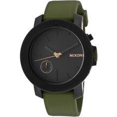 Nixon Nixon Women's Women's Raider IP Stainless Steel & Black Dial... ($225) ❤ liked on Polyvore featuring jewelry, watches, green, stainless steel watches, water resistant watches, green jewelry, bezel watches and nixon jewelry