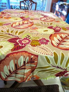 Table Cloth #38 Large Round Floral Tablecloth, Muted Colors, Up Cycled