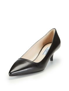 Leather Pointed-Toe Low Pump by Prada at Gilt